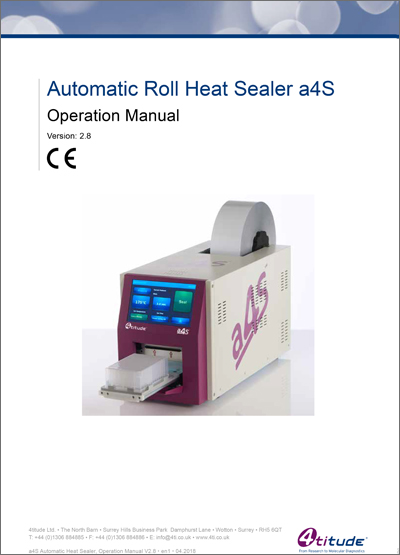 a4S Automatic Roll Heat Sealer Operation Manual | Brooks Life Sciences