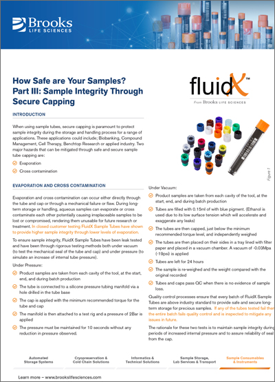 How Safe Are Your Samples? Secure Capping