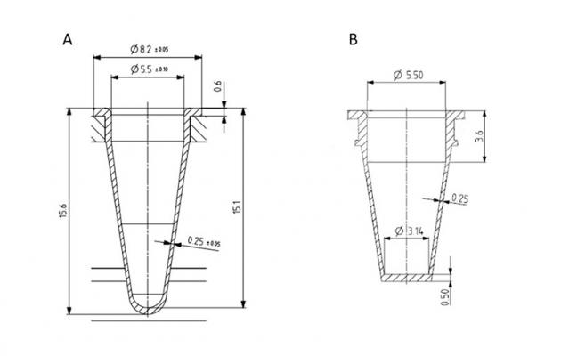 Figure 1. Technical drawing of a conical PCR tube (A) compared to a flat bottom PCR tube (B)
