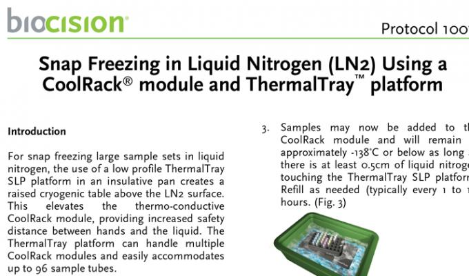 Snap Freezing in Liquid Nitrogen Using CoolRack and ThermalTray