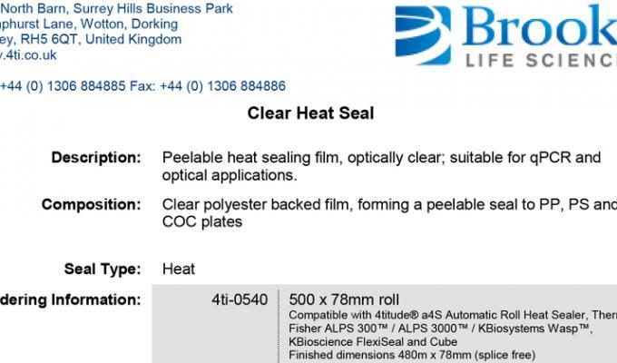 Clear Heat Seal Data Sheet