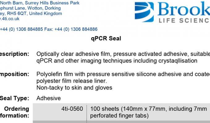 qPCR Seal Data Sheet