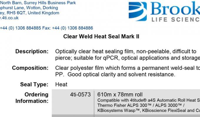 Clear Weld Heat Seal Mark 2 Data Sheet