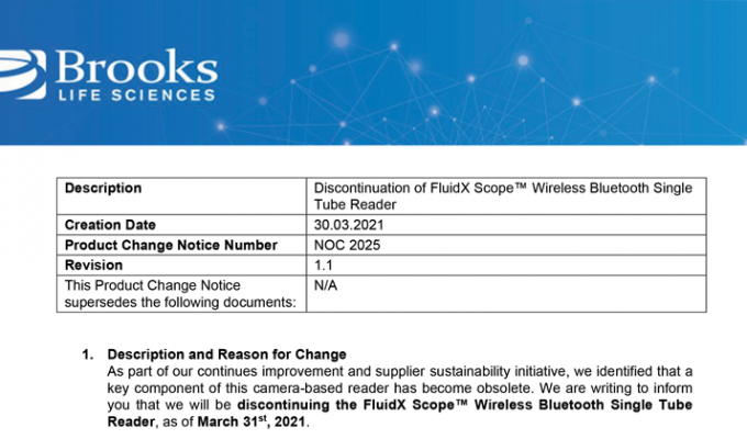 Discontinuation of FluidX Scope™ Wireless Bluetooth Single Tube Reader
