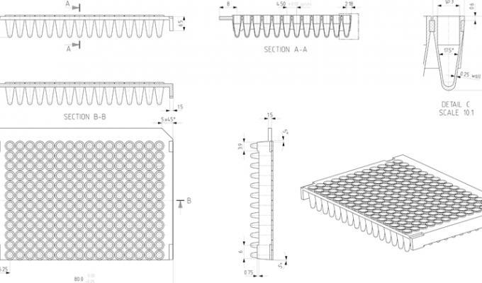 6f47b8a96d FrameStar® 192 Well Semi-Skirted PCR Plate Technical Drawing
