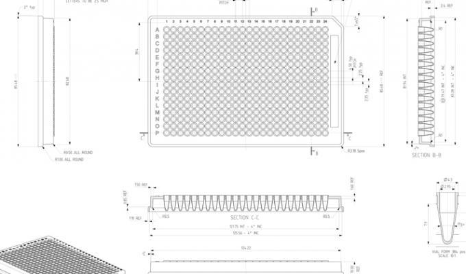 FrameStar® 384 Well Skirted PCR Plate Technical Drawing