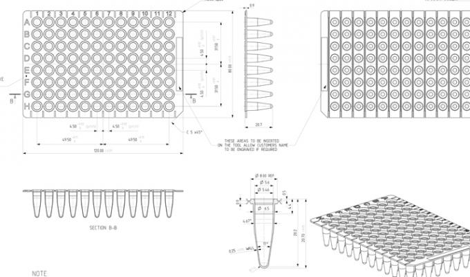 Tear-A-Way™ PCR Plate Technical Drawing