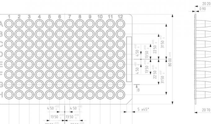 96 Well Non-Skirted PCR Plate Technical Drawing